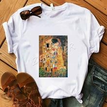 Women White Classic T-Shirt The Kiss Art Oil Painting T-Shirt