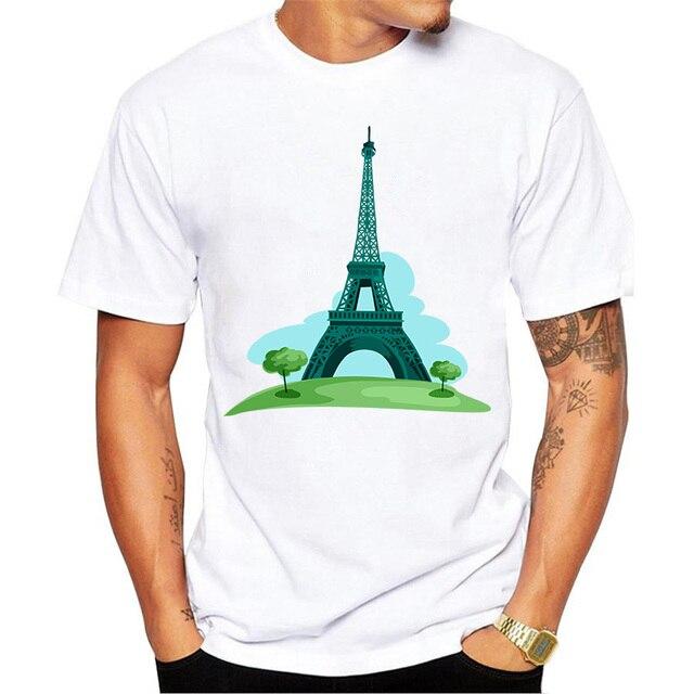 b03530eb46cd € 5.21 |Gran Torre Eiffel Diseño Tee Camisetas Hombres Románticas Vistas de  París camisa de Manga Corta Camisas de Algodón de Moda Masculina Art ...