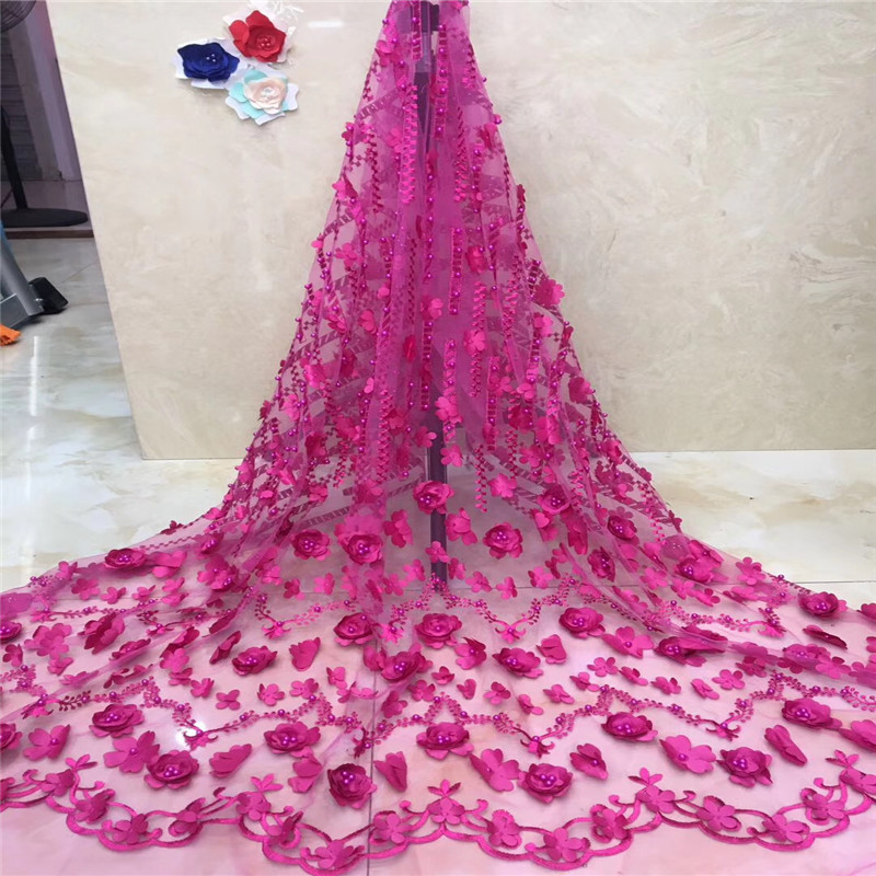White Color 3D flower Nigerian tulle lace fabric For Wedding Dress With Beads French Mesh Lace Fabric HX1169 1 in Lace from Home Garden