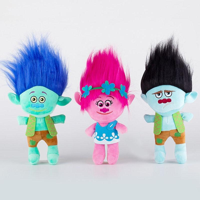 23cm Movie Trolls Plush Toy Doll The Good Luck Trolls Poppy Branch Dream Works Soft Stuffed Toys Gifts For Kids Children Xmas