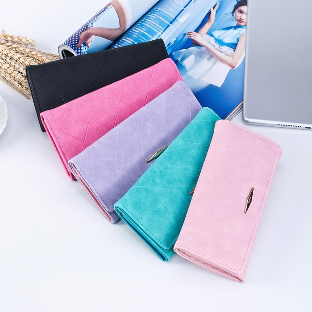 Minimalist Designer Slim Long Bifold Women Wallet Female Clutch bag Leather Coin Purse Ladies Card Holder Money Porte Monnaie