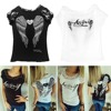 Women's T shirt Back Hollow Angel Wings T-shirt Tops Summer Style Woman Lace Short Sleeve Tops T shirts Clothing
