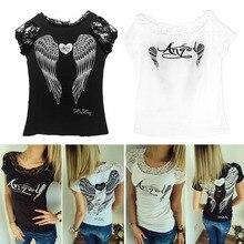 e7b11fd6e Camisa de T das mulheres de Volta Anjo Oco Asas T-shirt Tops de Verão  Estilo Mulher Lace Manga Curta Tops T camisas Roupas