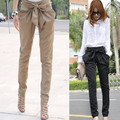 2016 new fashion plus size autumn trousers solid loose casual pleated long Bow casual harem pants black khaki womens cargo pants
