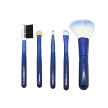 Makeup Brush Set Synthetic Fiber Wooden handle blue color