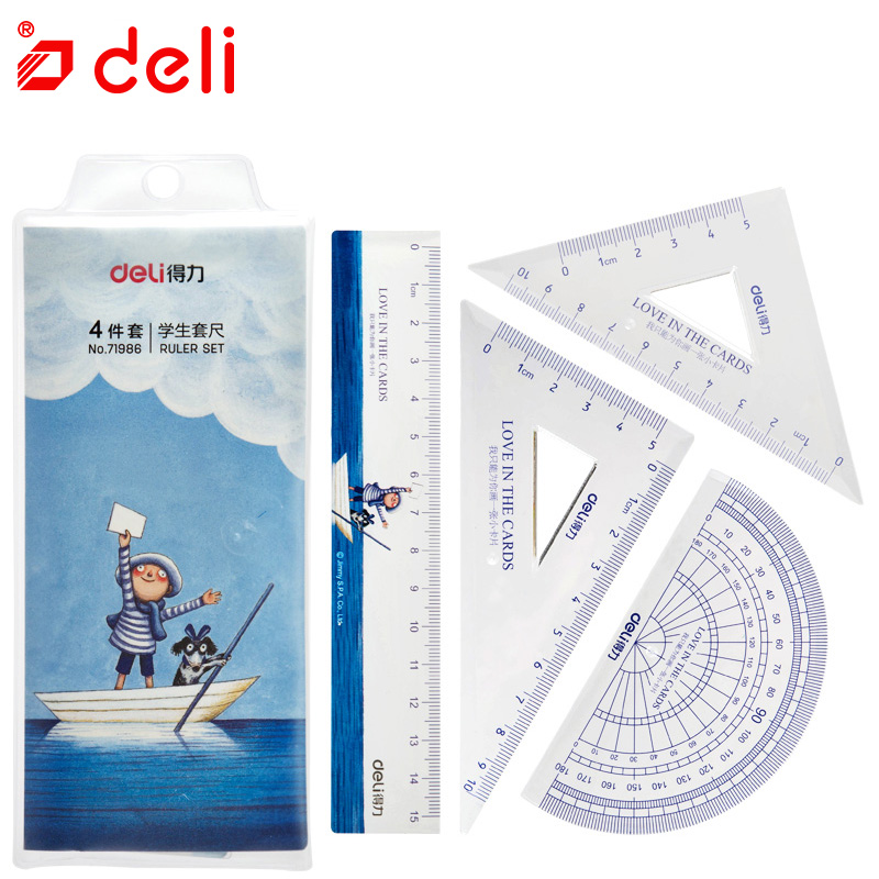 Deli 4PCS/Set Kawaii Ruler Set Triangle Ruler Protractor For Measuring Drawing Student Stationery Maths Geometry School Supplies