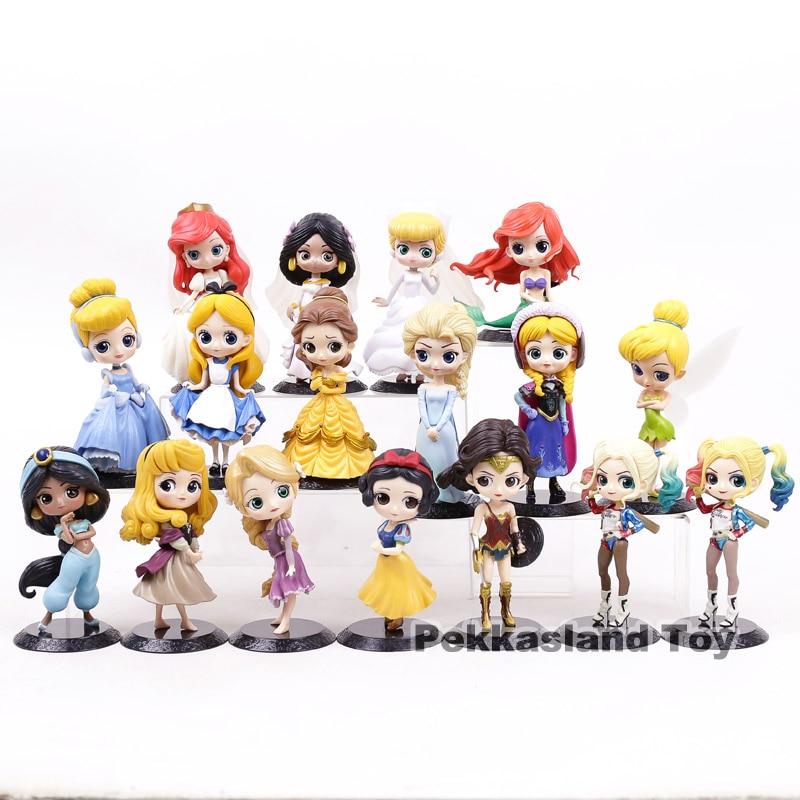 Q Posket Princess Figures Toys Belle Ariel Elsa Anna Aurora  Harley Quinn Cinderella Snow White  Boxed 17 Types