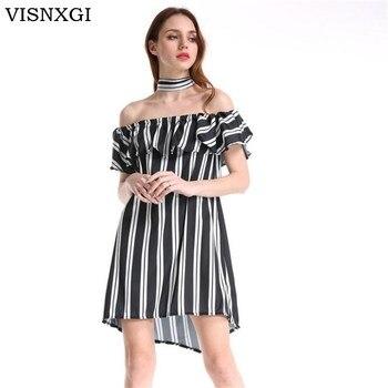 59a366f21b5 VISNXGI летнее платье 2018 для женщин в полоску платья для пикантные рюшами  Vestido повседневное стиль повязки Довольно Сарафан Мини пл