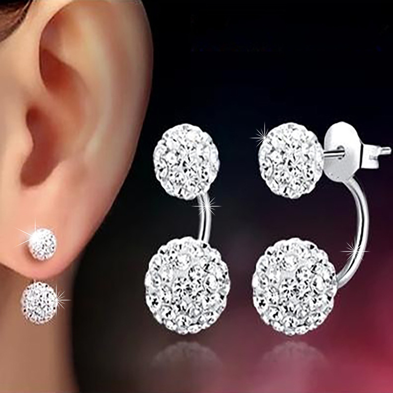 New Arrival 925 Sterling Silver Ladies' Earring Fashion Shiny Crystal Shambhala Stud Earrings For Women Jewelry Birthday Gift