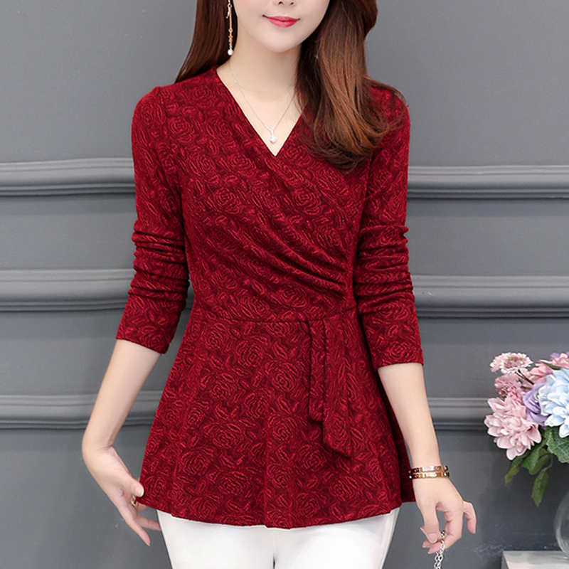 Casual Winter New Plushed and Thickened Bottom women top   Blouse   Long Sleeve   Blouse   Large V-neck Purple tops   Blouses     Shirt   201J3