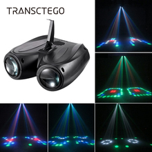 Disco Light 20W 128 LED RGBW Double Head Airship Laser Projector Lamp Christmas Stage Effect Sound Activated Party