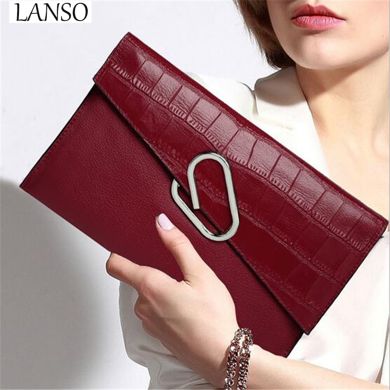2017 Genuine Leather Ladies Handbag Envelopes Handbags Soft Leather Shoulder Bag Evening Clutch font b Wallet