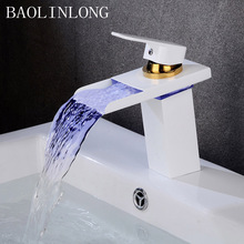 BAOLINLONG LED Brass Basin Bathroom Faucet Deck Mount Crane Sinks Mixer Tap Single Hole Waterfall Faucets faucets square style chrome brass bathroom faucet waterfall faucets single hole cold