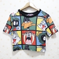 2016 recortada tops tee blusas mujeres unicornio harajuku camiseta de verano de dibujos animados manga corta Camisetas camisetas mujer