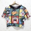 2016 women crop tops unicorn t-shirt harajuku summer cropped tops tee cartoon short-sleeve T-shirts camisetas mujer