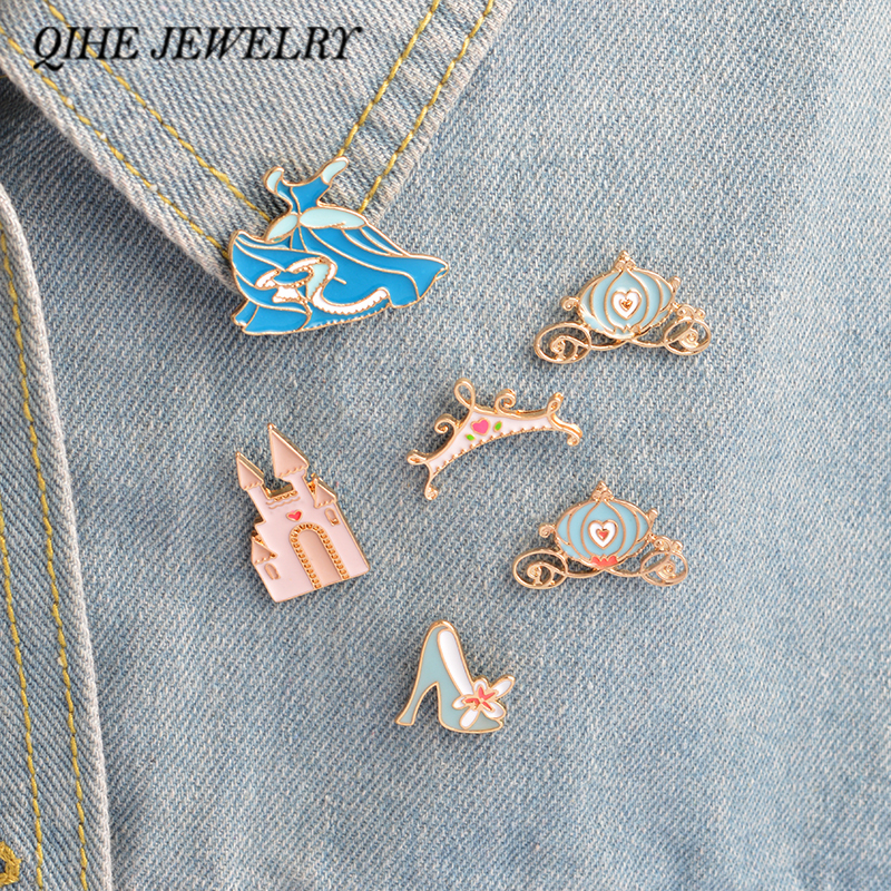 QIHE JEWELRY 6pcs/set brooch pins set Cinderella blue dress palace pumpkin carriage crystal shoes princess pins collection