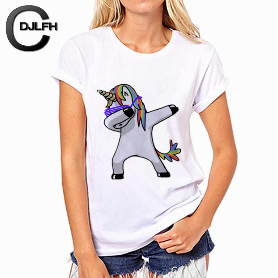 CDJLFH Summer Women T-shirt Fashion Unicorn Theme Print White Tops Shirt Women Short Sleeve Round Neck Tshirt Feminina Camisa
