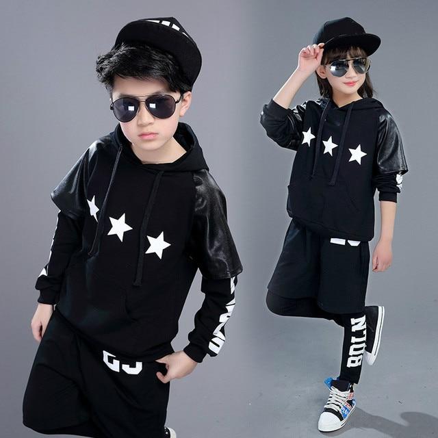 8622be3739b Children Hip Hop Dancing Costumes Boys Girls Jazz Dance Wear Costumes  Children Stage Performance Costume Top + Short + Leggings