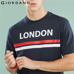 Image 4 - Giordano Мужская футболка, мужские футболки с округлым вырезом, с контрастным принтом, с буквенным принтом, мужские модные тренды с коротким рукавом, мужская одежда