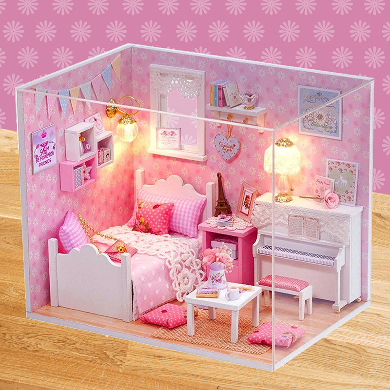2017 Dollhouse DIY 3D Puzzle Wooden Miniature House Doll for Birthday Gift Toy Box   APR28_17 miniature house shape diy art 3d jigsaw puzzle
