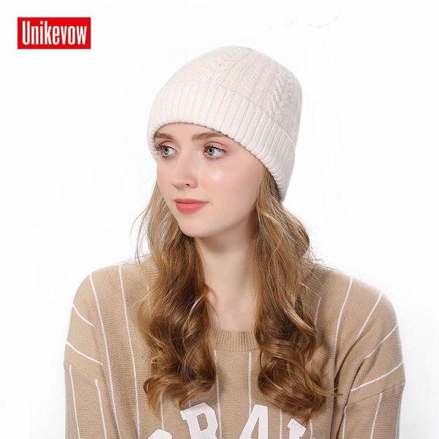 2ba8e6cb300 Unikevow Knitted Wool Beanies Women Autumn Winter Hat Fashion Skullies  Twist Knot Knit Hats For Men