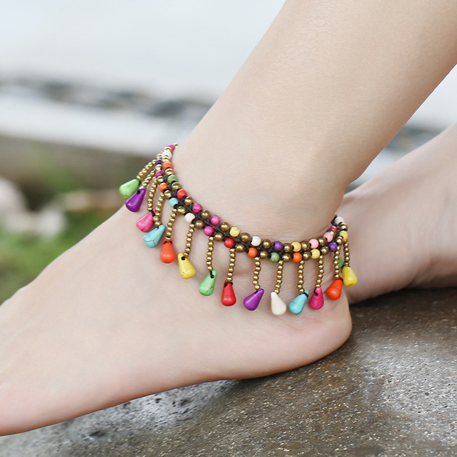 Vintage Multicolor Beaded Anklet