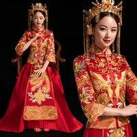 New Arrival Cheongsam Embroidery Qipao Women Dress Evening Dress Modern Chinese Wedding Dress Bride Traditions Robe Orientale