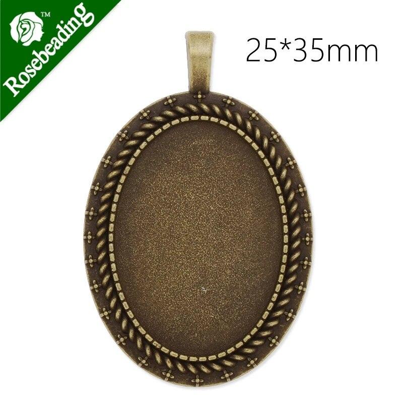 20pcs antiqued Bronze 35mm round bezel trays pendant findings cabochon size