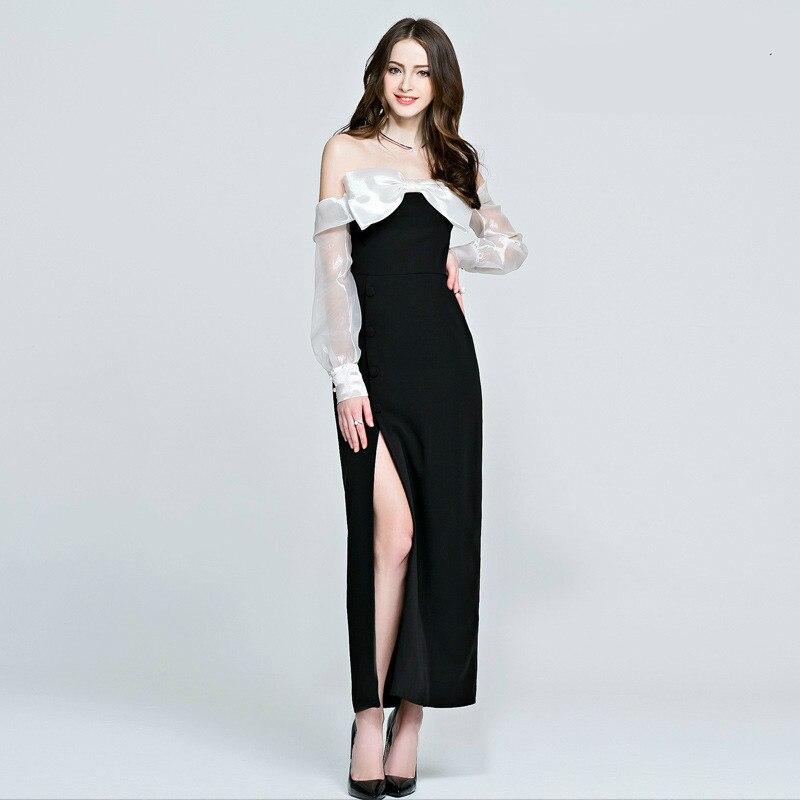 Slash Cou Hors de L'épaule Moulante Robe Cheongsam Split Empire Europe Style Vintage Robe Femmes Noir Élégant Sexy Robe Femmes