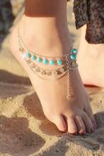 1PC Boho Ethnic Summer Beach Multilayer Anklet Beads Paillette Tassel Ankle Bracelet Women Foot Jewelry