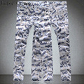 Free Shipping 2017 Spring and summer thin snow white Camouflage pants  multi-pocket overalls casual hip-hop trousers 80