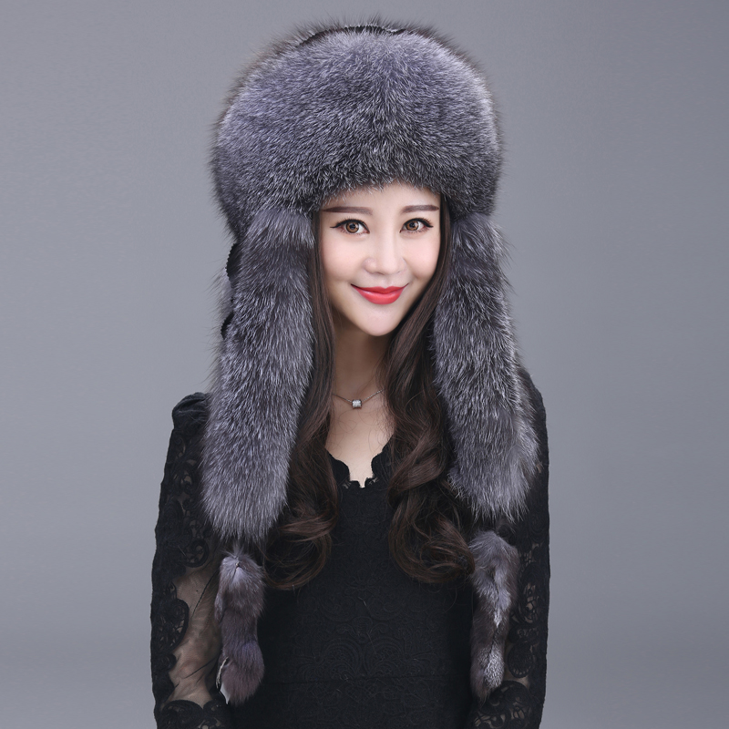 Winter new real fur hat for women,Fox fur hat bomber hats ear protection fox fur cap ZY03
