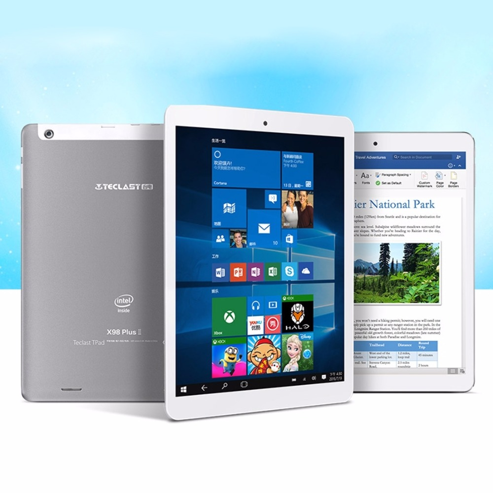 Original 9.7 inch Teclast X98 Plus II Dual OS Intel Cherry Trail X5 Tablet Windows 10 Home + Android 5.1 4GB 64GB 2048 x 1536