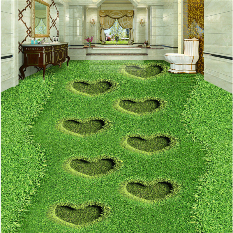 beibehang Customize any size frescoes heart-shaped grass lawn 3D floor tiles three-dimensional paintings photo wallpaper
