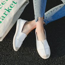 2018 Women's Espadrilles Flats Shoes PU Leather Boat Shoes For Women Light Breathable Fashion Student Fisherman Shoes 35-40