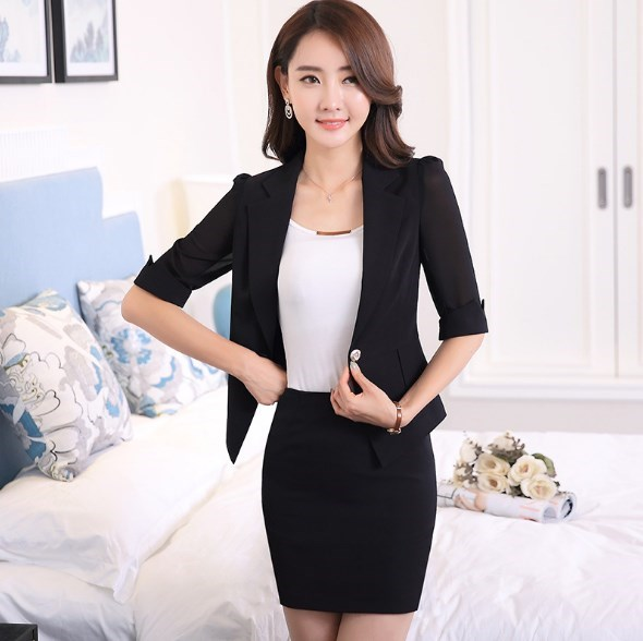 2 Pieces Set Office Skirts Suit Women Summer Business Casual Skirt Suits Black White Womens Short Sleeve Blazer With Mini Skirt