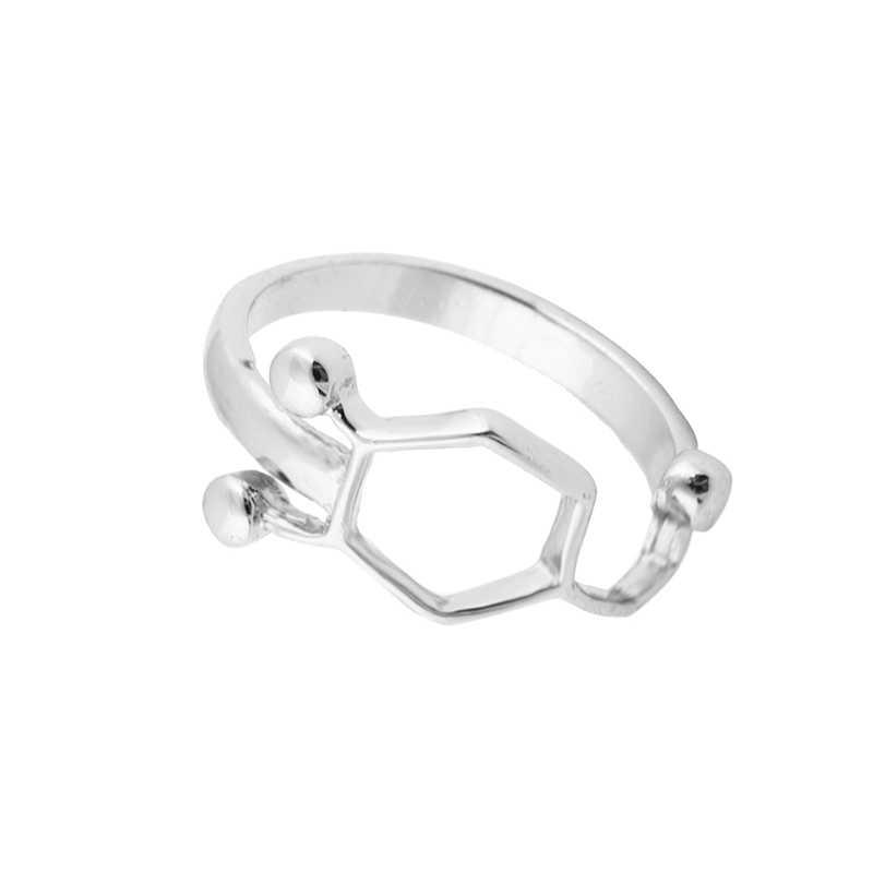 แฟชั่นใหม่D Opamineโมเลกุลแหวนเคมีเครื่องประดับสารสื่อประสาทวิทยาศาสตร์เครื่องประดับแหวนสำหรับผู้หญิง