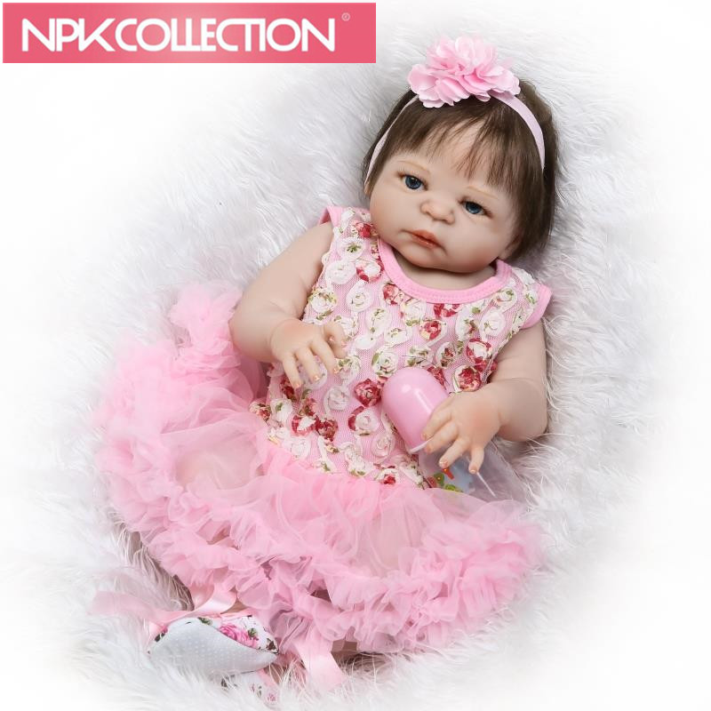Full Silicone Vinyl Reborn Baby Doll Realistic Girl Babies Dolls 23 Inch 57cm Lifelike Princess Kids Toy Children Birthday Gift 16 inch silicone reborn babies reborn doll cute full silicone baby doll for children girl birthday gift