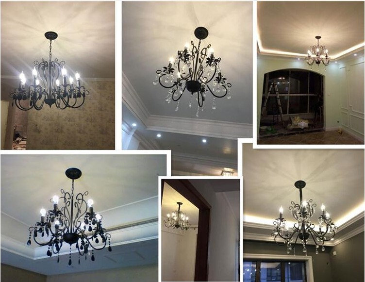 Bon Coffee Shop Vintage Wrought Iron Chandelier Crystal Lampara Luster Hotel Black  Chandelier Bedroom Kitchen Bar Indoor Lighting In Chandeliers From Lights  ...