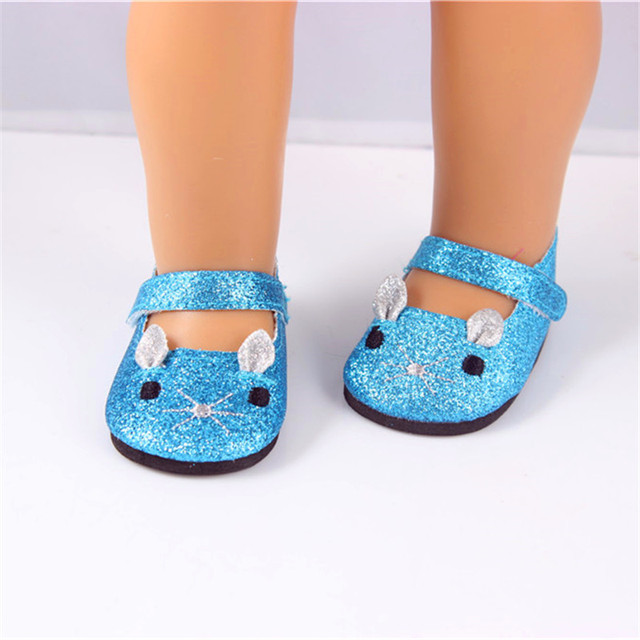 Baby Doll Shoes Fit 43cm Doll Baby Doll Accessories Doll Blue Sparkle  Lovely Cat Shoes Dance Shoes DS76 b88c904d2960