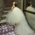 Fluffy Flower Girl Flower Dresses with Long Train Pure Ivory Princess Girl Prom Dress For Wedding Party Evening PT16