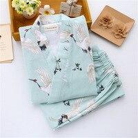 2017 New Japanese Kimono Robe Pants Women Pajamas Sets Cotton Gauze Spa Bath Yukata Japanese Store