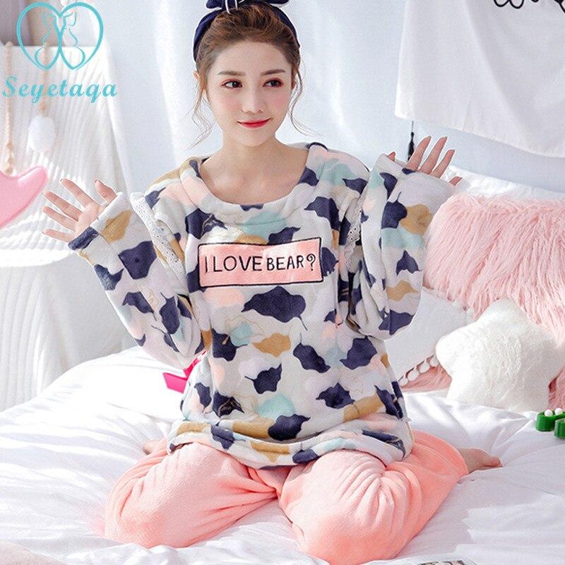 все цены на 31# Cartoon Flannel Maternity Nursing Nightwear Autumn Winter Thicken Warm Velvet Sleepwear for Pregnant Women Pregnancy Pajamas онлайн