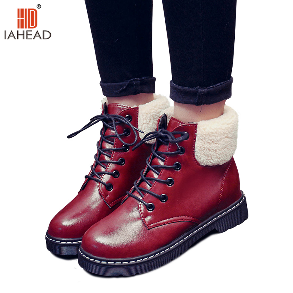 IAHEAD Shoes Women Russia Female Winter Boots women ankle boots lace-up Shoes Warm Plush Boot Snow Boots UPB07 winter women snow boots fashion footwear 2017 solid color female ankle boots for women shoes warm comfortable boots