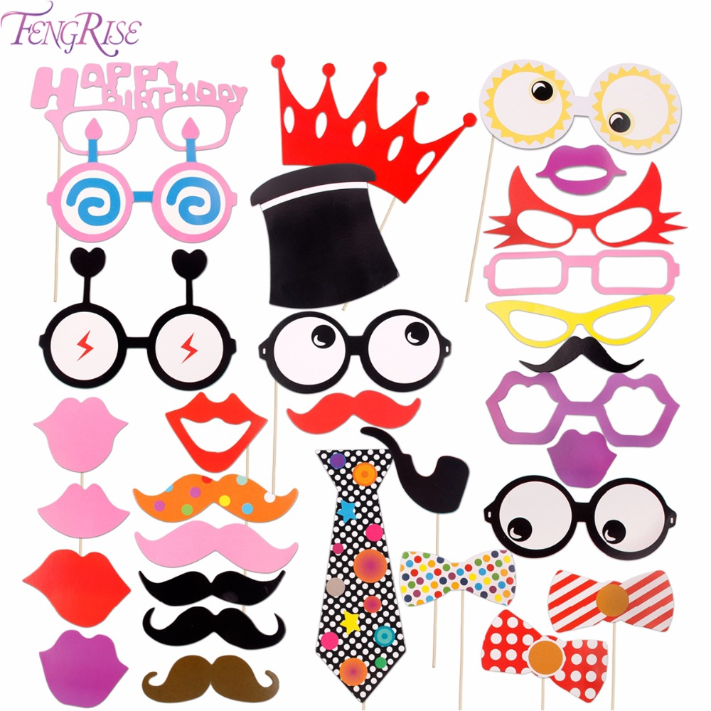 FENGRISE 31 pcs Photo Booth Props Birthday Wedding Supplies DIY Fun Glasses Mustache Lip On A Stick Photobooth Props Decoration
