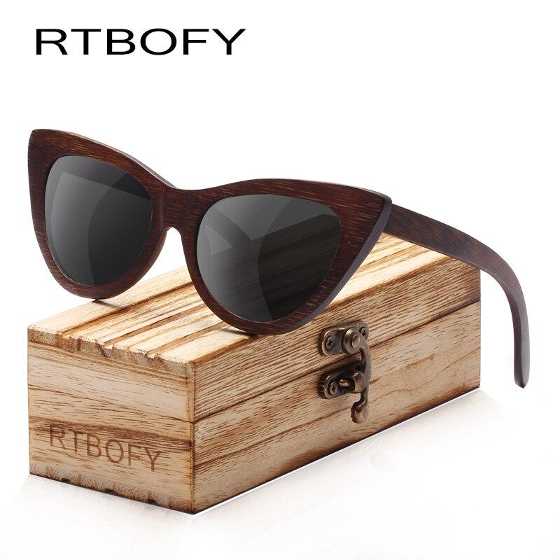 0ca29bd75d Rtbofy madera Gafas de sol mujeres bambú Marcos ojo Gafas polarizadas  Objetivos Gafas vintage diseño Sol Shades UV400 protección