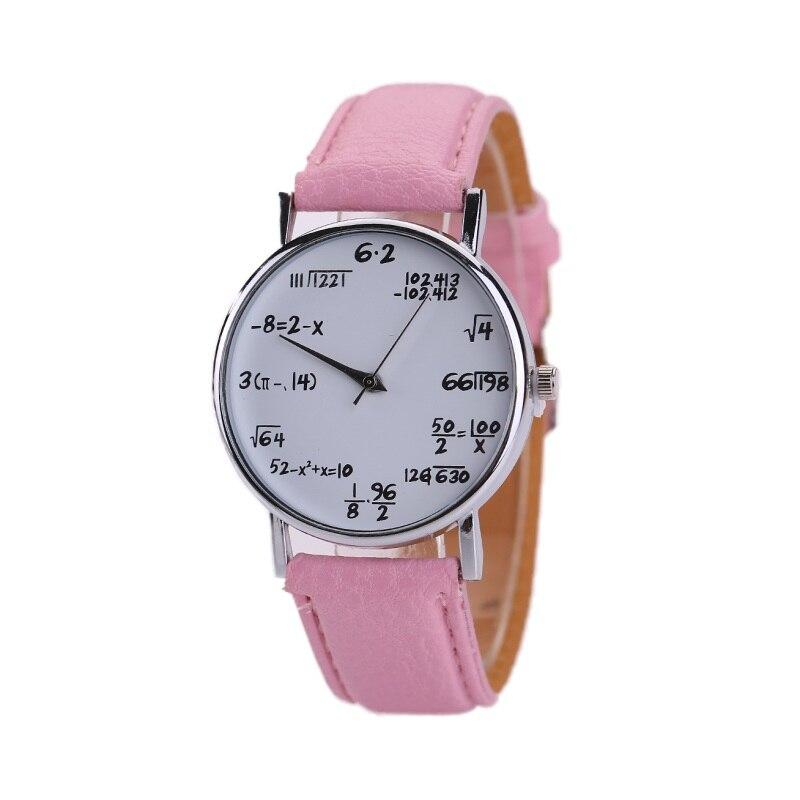 Wristwatch Watch Women Math Formula Equation Dial Faux Leather Quartz Wrist Watch Colors