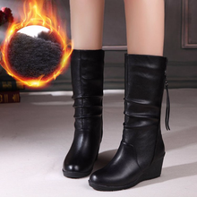 Centenary Womens Black Leather Short Boots Wedge Zipper Mid-calf  Winter womens shoes