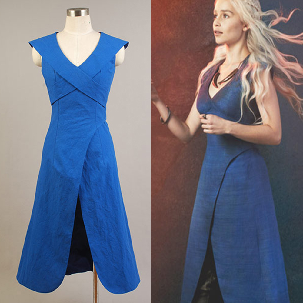 Game of Thrones Daenerys Targaryen Women Female Summer Blue Sexy Dress Party Halloween Cosplay Costume Full Set