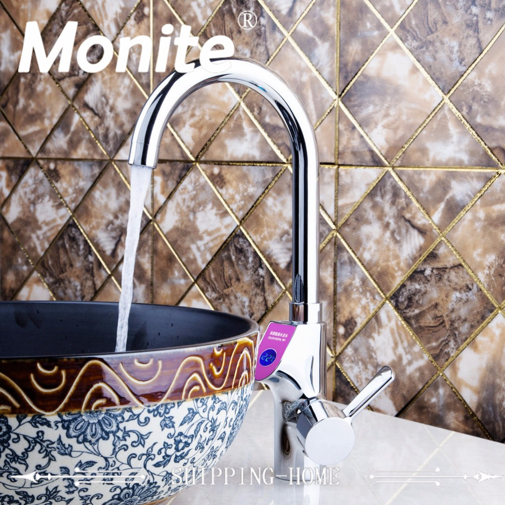 Bathroom Faucet Chrome Digital Display Temperature Faucet Kitchen Faucet Deck Mount Sink Water Mixer Tap Bathroom Basin Faucet china sanitary ware chrome wall mount thermostatic water tap water saver thermostatic shower faucet